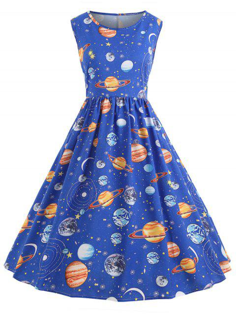 3793113793b 59% OFF  2019 Vintage Universe Planet Space Dress In BLUE