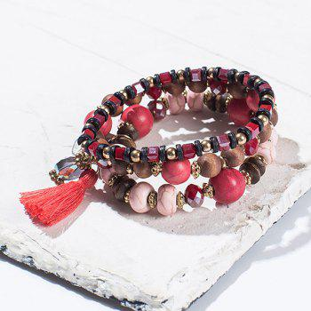 Wooden Breads Hand Woven Wrap Bracelet - RED