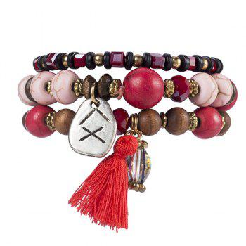 Wooden Breads Hand Woven Wrap Bracelet - RED RED