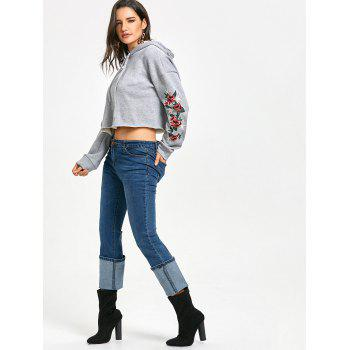 Star Flower Embroidered Flocking Cropped Hoodie - GRAY M