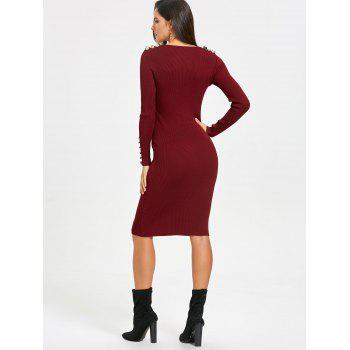 Bodycon Knit Sweater Dress - WINE RED WINE RED