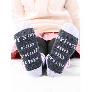 Pair of Graphic Letter Contrast Socks - GRAY GRAY