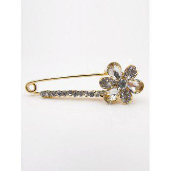 Floral Faux Crystal Embellished Brooch - WHITE WHITE