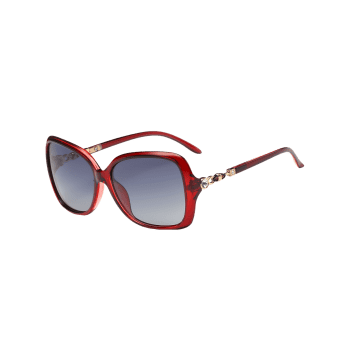 Anti-fatigue Rhinestone Inlay Oversized Driver Sunglasses -  RED