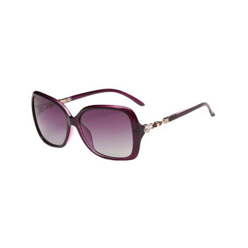 Anti-fatigue Rhinestone Inlay Oversized Driver Sunglasses -  PURPLE
