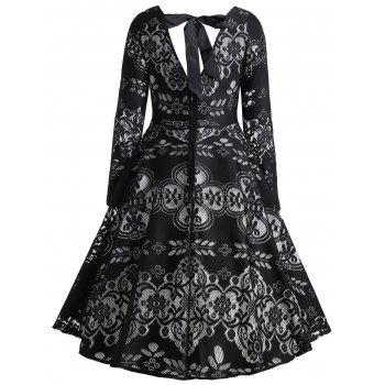 Vintage Lace Bowknot Back Dress - BLACK 2XL