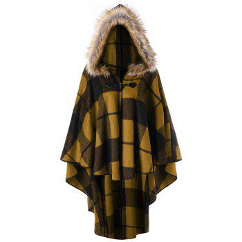 Plus Size Plaid Hooded High Low Cloak - GINGER GINGER