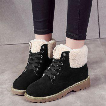 Fold Over Faux Shearling Ankle Boots - BLACK 35