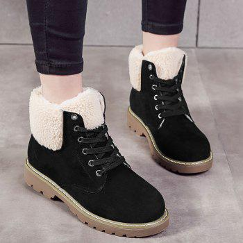 Fold Over Faux Shearling Ankle Boots - BLACK 39