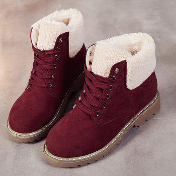 Fold Over Faux Shearling Ankle Boots - RED 35