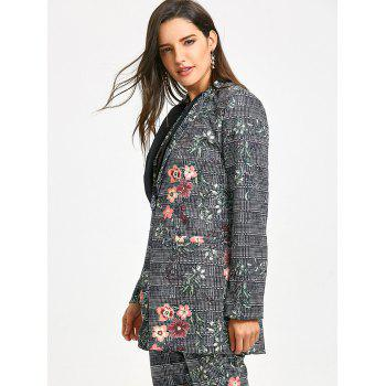 Plaid Flower Printed Lapel Coat - COLORMIX M