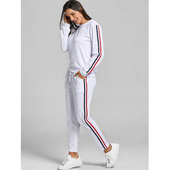 Sweatshirt With Pants Striped Sweat Suits - WHITE XL