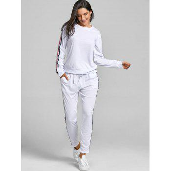 Sweatshirt With Pants Striped Sweat Suits - WHITE L