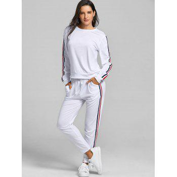 Sweatshirt With Pants Striped Sweat Suits - WHITE S