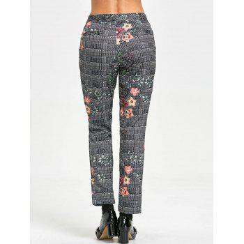 Zipper Fly Plaid Flower Print Pants - COLORMIX COLORMIX
