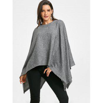 Batwing Sleeve Oversized Poncho Sweater - GRAY GRAY