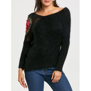 Hollow Out Floral Embroidered Sweater - BLACK BLACK
