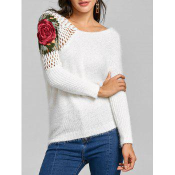 Hollow Out Floral Embroidered Sweater - WHITE WHITE
