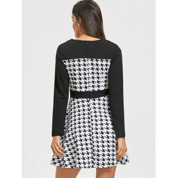 Mini Houndstooth A Line Dress - BLACK WHITE M