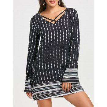 Ethnic Print Criss Cross Mini Shift Dress - BLACK BLACK