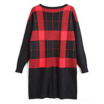 Plus Size Checked Tunic Sweater with Pocket - RED 8XL