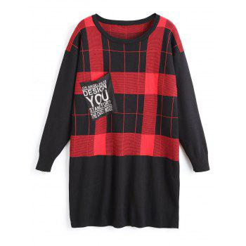Plus Size Checked Tunic Sweater with Pocket - RED RED