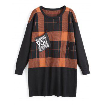 Plus Size Checked Tunic Sweater with Pocket - SUGAR HONEY SUGAR HONEY