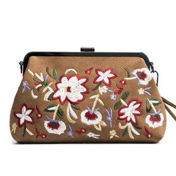 Faux Leather Flower Embroidery Clutch Bag - BROWN BROWN