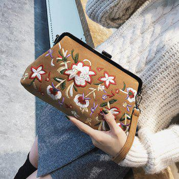 Faux Leather Flower Embroidery Clutch Bag -  BROWN