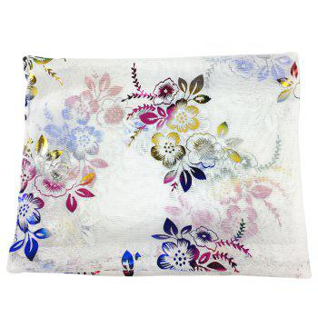 Vintage Flowers Embroidery Embellished Infinity Sheer Scarf - WHITE WHITE