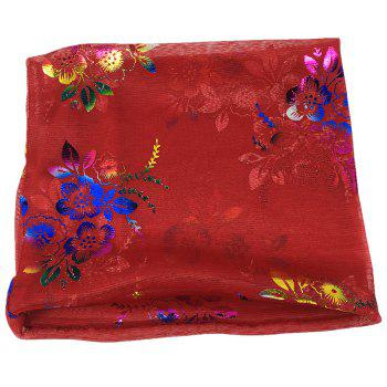 Vintage Flowers Embroidery Embellished Infinity Sheer Scarf - BRIGHT RED BRIGHT RED