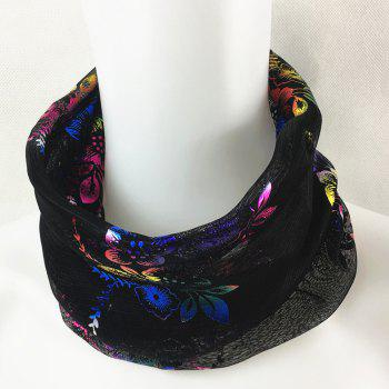 Vintage Flowers Embroidery Embellished Infinity Sheer Scarf -  BLACK