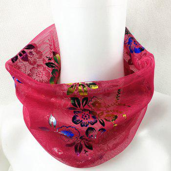 Vintage Flowers Embroidery Embellished Infinity Sheer Scarf -  TUTTI FRUTTI
