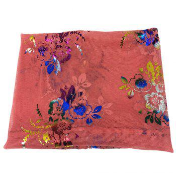 Vintage Flowers Embroidery Embellished Infinity Sheer Scarf - WATERMELON RED WATERMELON RED