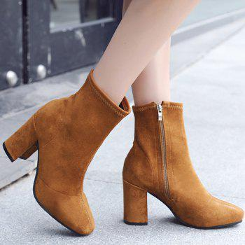 Almond Toe Side Zip Ankle Boots - BROWN BROWN
