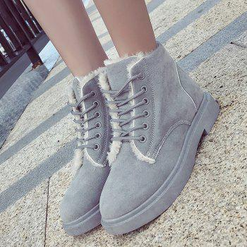 Lace Up Faux Fur Lined Ankle Boots - GRAY 39