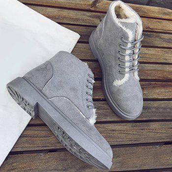 Lace Up Faux Fur Lined Ankle Boots - GRAY GRAY