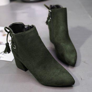Tassels Pointed Toe Side Zip Ankle Boots - ARMY GREEN 36