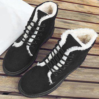 Lace Up Faux Fur Lined Ankle Boots - BLACK 39
