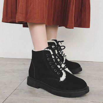 Lace Up Faux Fur Lined Ankle Boots - BLACK BLACK