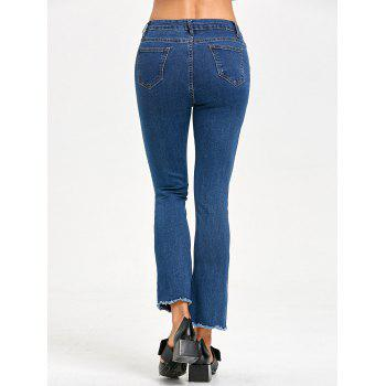 Slit Frayed Zipper Fly Jeans - BLUE BLUE