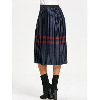 Pleated Striped Elastic Waist Skirt - PURPLISH BLUE M