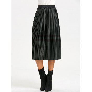 Pleated Striped Elastic Waist Skirt - BLACKISH GREEN BLACKISH GREEN