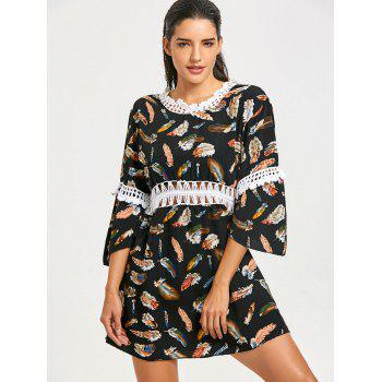 Feathers Print Summer Beach Cover Up Dress - COLORMIX COLORMIX