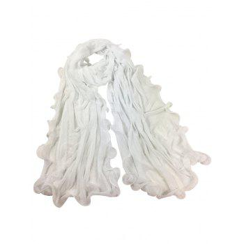 Soft Wrinkle Shimmer Long Shawl Scarf - WHITE WHITE
