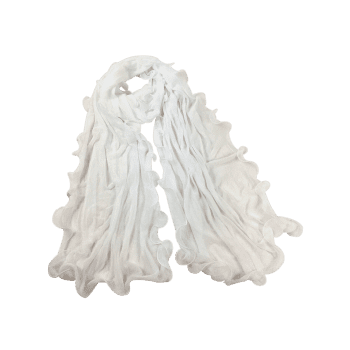 Soft Wrinkle Shimmer Long Shawl Scarf - WHITE