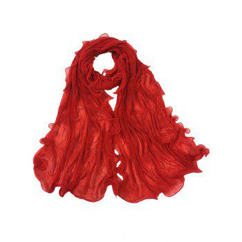 Soft Wrinkle Shimmer Long Shawl Scarf - BRIGHT RED BRIGHT RED