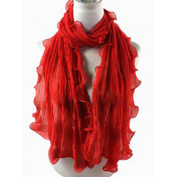 Soft Wrinkle Shimmer Long Shawl Scarf -  BRIGHT RED