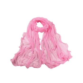 Soft Wrinkle Shimmer Long Shawl Scarf -  PINK