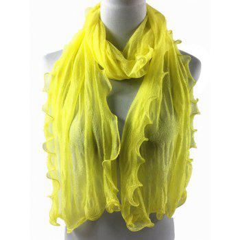 Soft Wrinkle Shimmer Long Shawl Scarf - YELLOW
